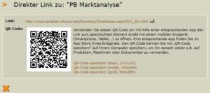 Screenshot Link mit QR-Code zu Ihrem Dokument